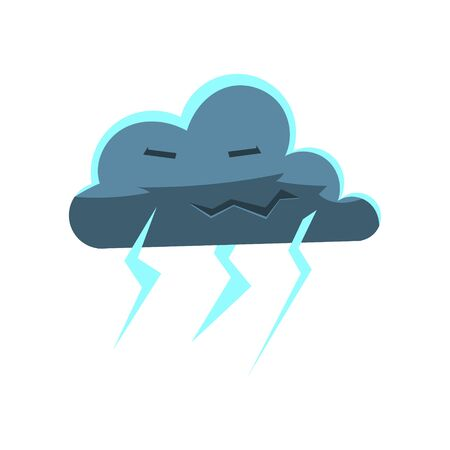 lightening: Cloud With Lightening Bolts Cute Childish Style Bright Color Design Icon Isolated On White Background