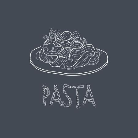 main dishes: Pasta Sketch Style Chalk On Blackboard Menu Item Vector Illustration Hand Drawn On Dark Background