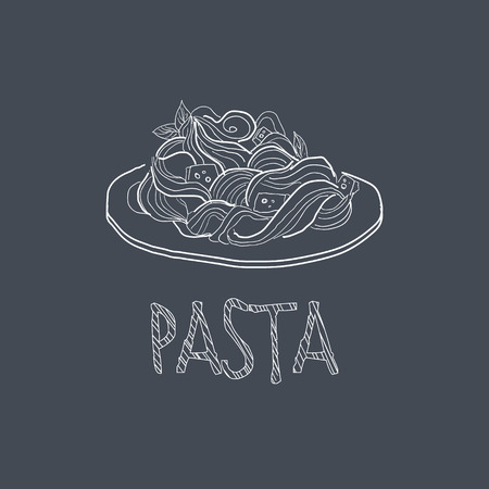 Pasta Sketch Style Chalk On Blackboard Menu Item Vector Illustration Hand Drawn On Dark Background