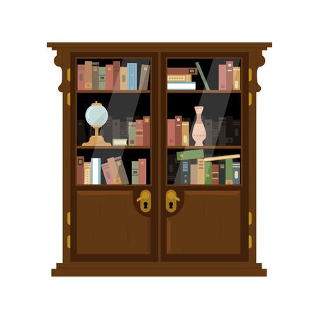 Antico armadio in legno con i libri luminoso appartamento a colori illustrazione vettoriale su sfondo bianco Vettoriali