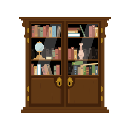 Antique Wooden Cupboard With Books Flat Bright Color Vector Illustration On White Background