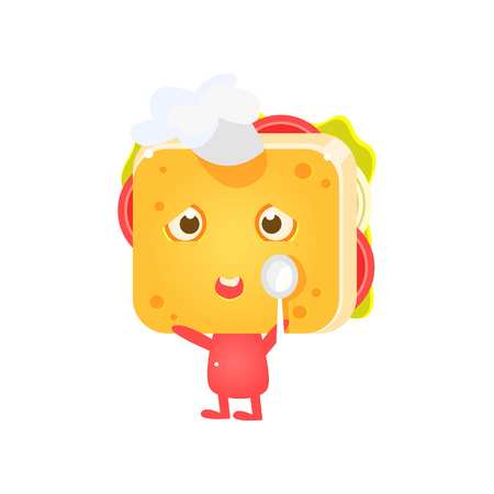 coking: Sandwich Character In Coking Hat With Spoon Flat Childish Funny Design Vector Drawings Isolated On Dark Background