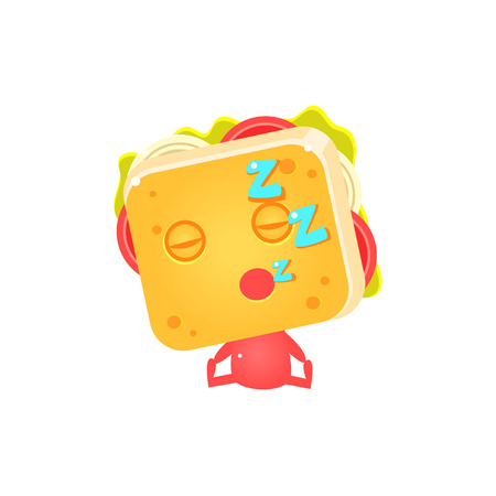 zzz: Sandwich Character Sleeping Flat Childish Funny Design Vector Drawings Isolated On Dark Background