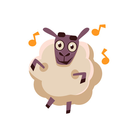 dancefloor: Sheep Dancing With Music Cute Childish Style Bright Color Design Icon Isolated On White Background