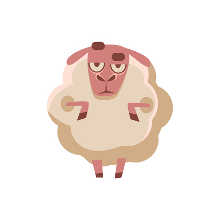 doubtful: Sheep Being Sceptical Cute Childish Style Bright Color Design Icon Isolated On White Background