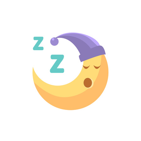 crescent: Sleeping Cartoon Crescent Cute Childish Style Light Color Design Icon Isolated On White Background Illustration