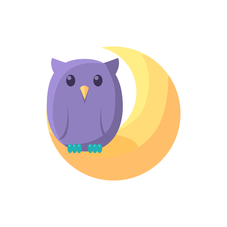 kid drawing: Owl Sitting On Crescent Cute Childish Style Light Color Design Icon Isolated On White Background