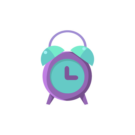 oldschool: Old-school Alarm Clock Cute Childish Style Light Color Design Icon Isolated On White Background Illustration