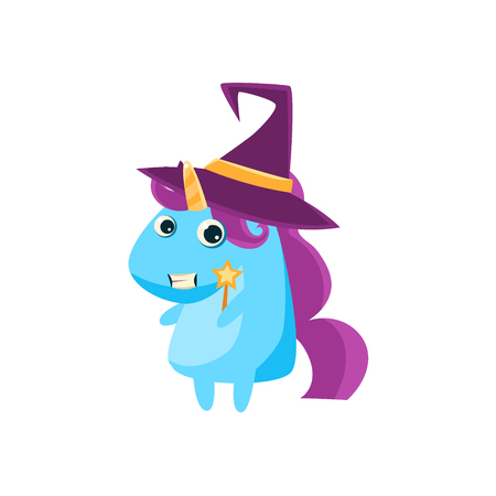 mage: Unicorn In Witch Costume Flat Bright Color Childish Cartoon Design Vector Illustration Isolated On White Background