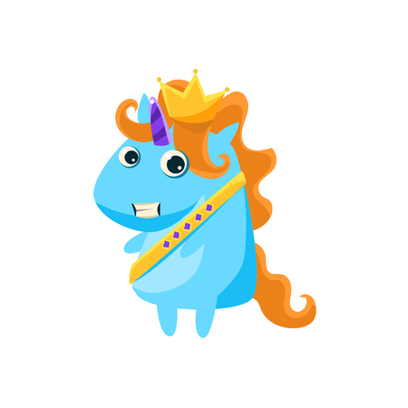 prince charming: Unicorn In Prince Charming Costume Flat Bright Color Childish Cartoon Design Vector Illustration Isolated On White Background