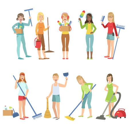 cleaner vacuuming: Adult People Cleaning Up Indoors Set Of Simple Cartoon Flat Vector Colorful Characters On White Background Illustration