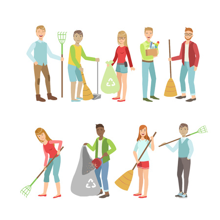 cleaning up: Adult People Cleaning Up Outdoors Set Of Simple Cartoon Flat Vector Colorful Characters On White Background