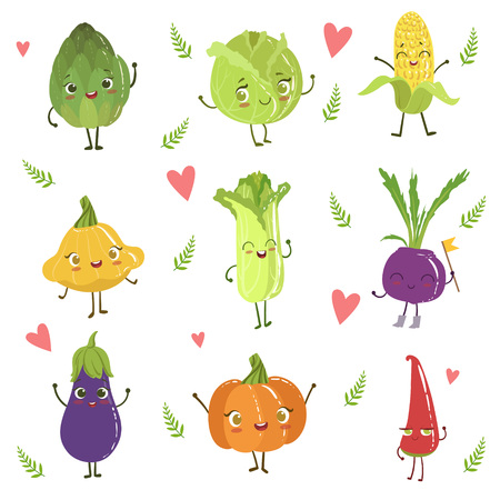vegetable marrow: Funny Girly Design Vegetables Collection Of Adorable Flat Cartoon Humanized Vector Drawn Characters Illustration