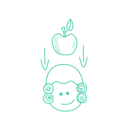 american stories: Apple Falling On Newtons Head Funny Hand Drawn Childish Illustration In Funny Comic Style On White Background