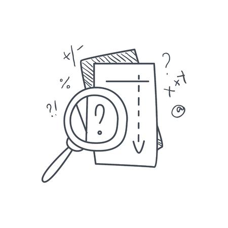 Proceso problema de matemáticas Solvong divertida ilustración dibujados a mano infantil en estilo cómico divertido en el fondo blanco Ilustración de vector