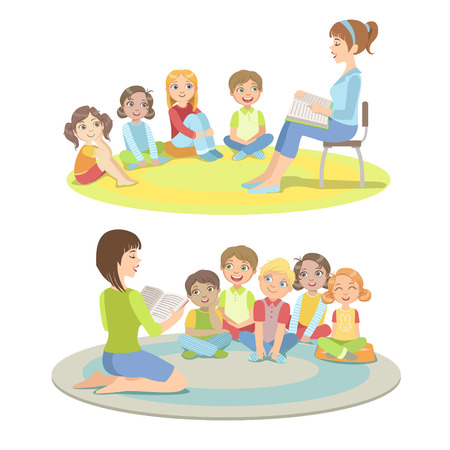 Basisschool leerlingen luisteren naar het verhaal vereenvoudigd Childish Cartoon Stijl Flat Vector Illustration