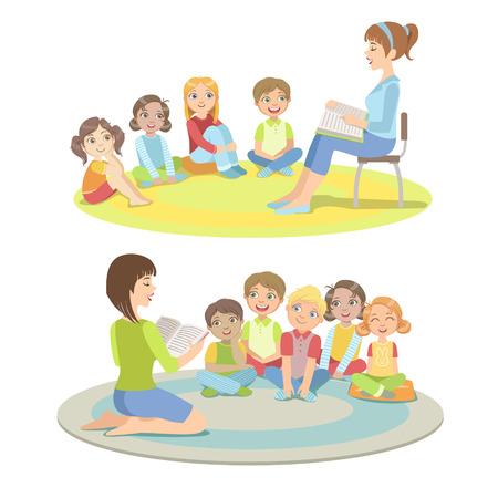 Los estudiantes de la escuela primaria la escucha de la historia de la ilustración de estilo de dibujos animados infantil simplificado plana vectorial