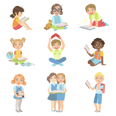 Kids Reading Books Icon Set Of Cute Big-eyed Characters Flat Vector Isolated Illustrations On White Background