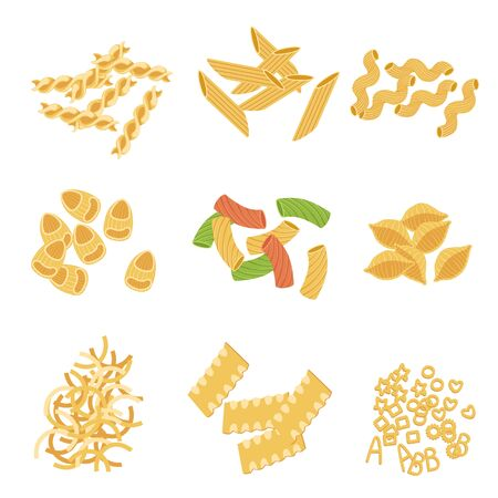 italian pasta: Classic Italian Pasta Types Collection Of Simple Realistic Flat Vector Icons Isolated On White Background