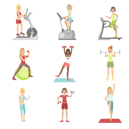 Femmes Formation Dans Gym Set Of Simple Cartoon Flat Vector Colorful Characters Sur fond blanc