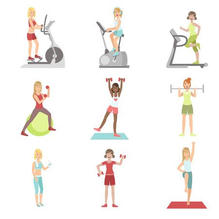 Formación Mujeres en gimnasia serie de intervenciones sencillas coloridos personajes de dibujos animados plana vectorial sobre fondo blanco