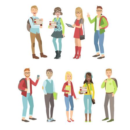 Los estudiantes universitarios de dibujos animados serie de intervenciones sencillas plana personajes de vectores colores sobre fondo blanco