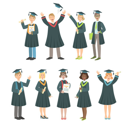 mantle: Graduating Students In Black Mantle Set Of Simple Cartoon Flat Vector Colorful Characters On White Background Illustration