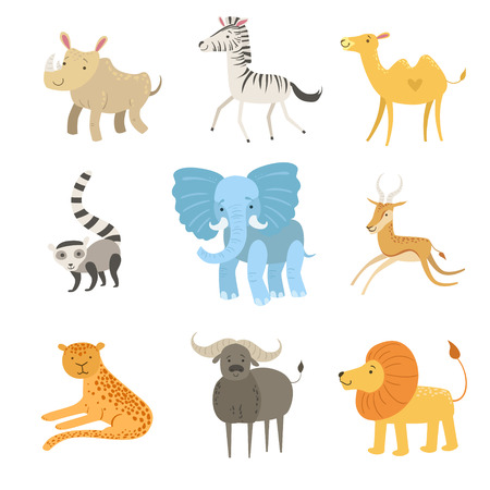 zoo cartoon: African Animals Illustration Set Of Stylized Cute Childish Flat Vector Drawings Isolated On White Background