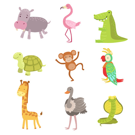 Afrikaanse dieren set van gestileerde Cute Childish Flat Vector Tekeningen pictogram op een witte achtergrond
