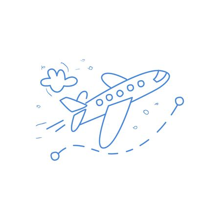 dotted line: Plane And Its Route Marked By Dotted Line Hand Drawn Childish Illustration In Funny Comic Style On White Background