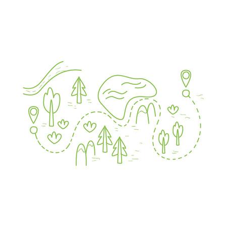 ハイキング ルートの手でマップは、白い背景の上面白いコミック スタイルで幼稚なイラストを描画  イラスト・ベクター素材