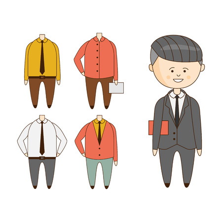 outlined isolated: Different Outfits For Character Construction Flat Outlined Hand Drawn Icons Set In Funny Comic Style Isolated On White Background