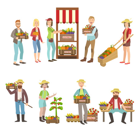 home grown: Farm Vegetables Market And People Farming Collection Of Simple Design Illustrations In Cute Fun Cartoon Style Isolated On White Background
