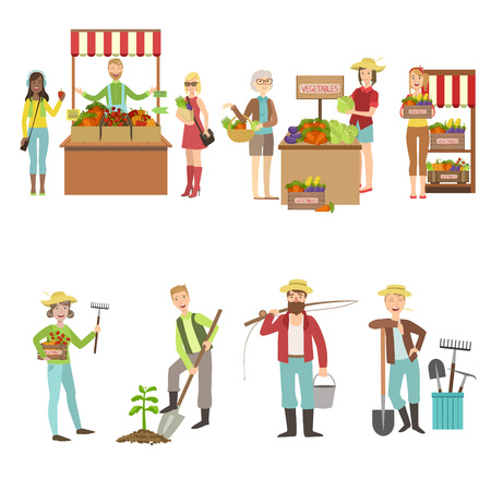 vegetables on white: Farm Vegetables Market And People Farming Set Of Simple Design Illustrations In Cute Fun Cartoon Style Isolated On White Background Illustration