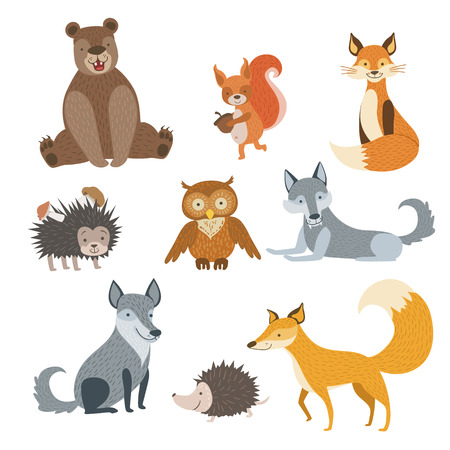 squirrel isolated: Forest Animals Set Of Stylized Cute Childish Flat Vector Drawings Isolated On White Background