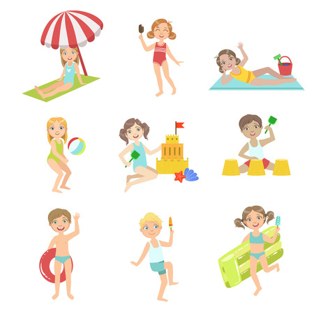 Kids Playing At the Beach Set Of Simple Design Illustrations In Cute Fun Cartoon Style Isolated On White Background Ilustração