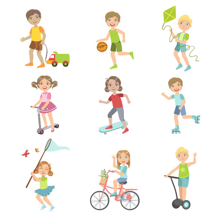 Kids Playing Outside Set Of Simple Design Illustrations In Cute Fun Cartoon Style Isolated On White Background