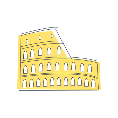 coliseum: Coliseum Building In Rome Light Color Flat Cute Illustration In Simplified Outlined Vector Design
