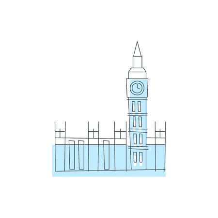 westminster abbey: Westminster Abbey Building In London Light Color Flat Cute Illustration In Simplified Outlined Vector Design
