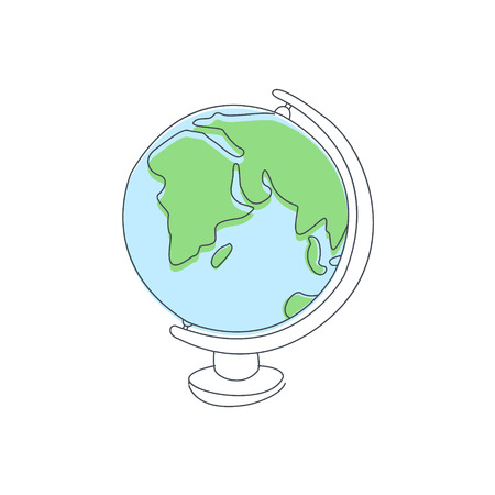 school globe: Classic School Globe Light Color Flat Cute Illustration In Simplified Outlined Vector Design Illustration