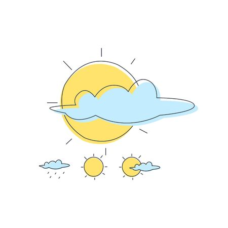 simplified: Weather Forecast Sun And Cloud Combinations Light Color Flat Cute Illustration In Simplified Outlined Vector Design