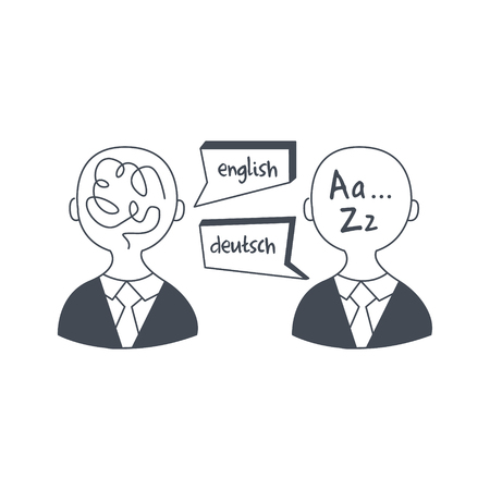 interpreter: Abstract People Speaking Different Languages Black And White Hand Drawn Illustration In Simplified Graphic Style On White Background