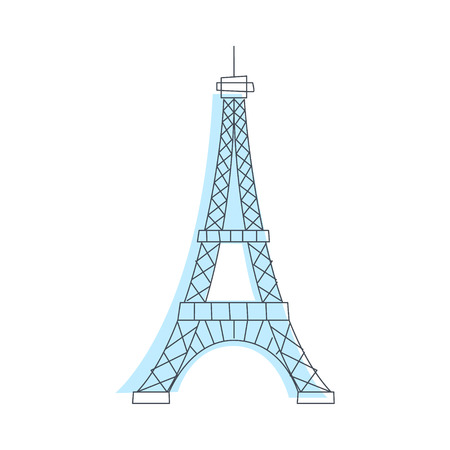 eifel: Eifel Tower Monument In Paris Light Color Flat Cute Illustration In Simplified Outlined Vector Design Illustration