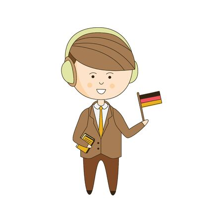 tourist guide: German Tourist With Audio Guide Light Color Flat Cute Illustration In Simplified Outlined Vector Design