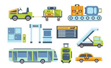 tableau: Airport Related Objects Collection Of Simplified Flat Cartoon Style Vector Stickers Isolated On White Background Illustration