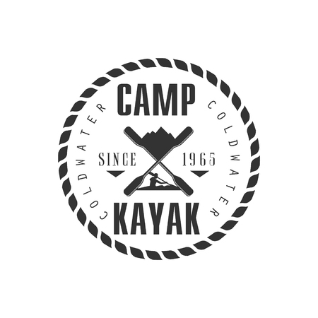 black white kayak: Camp KAyak Emblem Classic Style Vector With Calligraphic Text On White Background