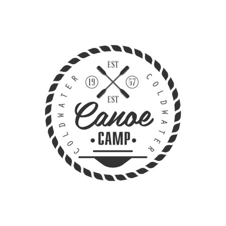coldwater: Canoe Camp Emblem Classic Style Vector With Calligraphic Text On White Background
