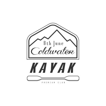 coldwater: Kayak Coldwater Emblem Classic Style Vector With Calligraphic Text On White Background