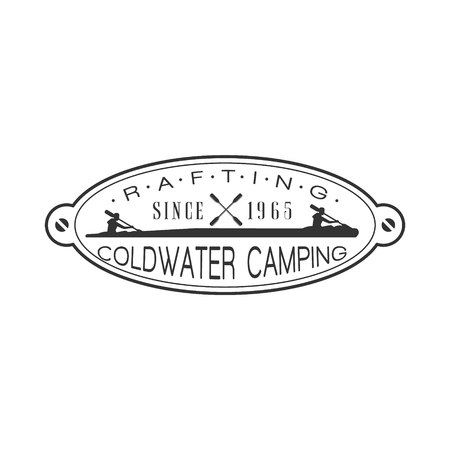 peddle: Coldwater Camping Emblem Classic Style Vector  With Calligraphic Text On White Background Illustration