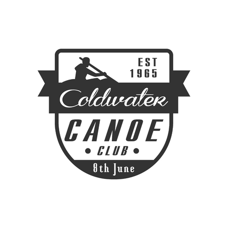 coldwater: Canoe Club Emblem Classic Style Vector With Calligraphic Text On White Background
